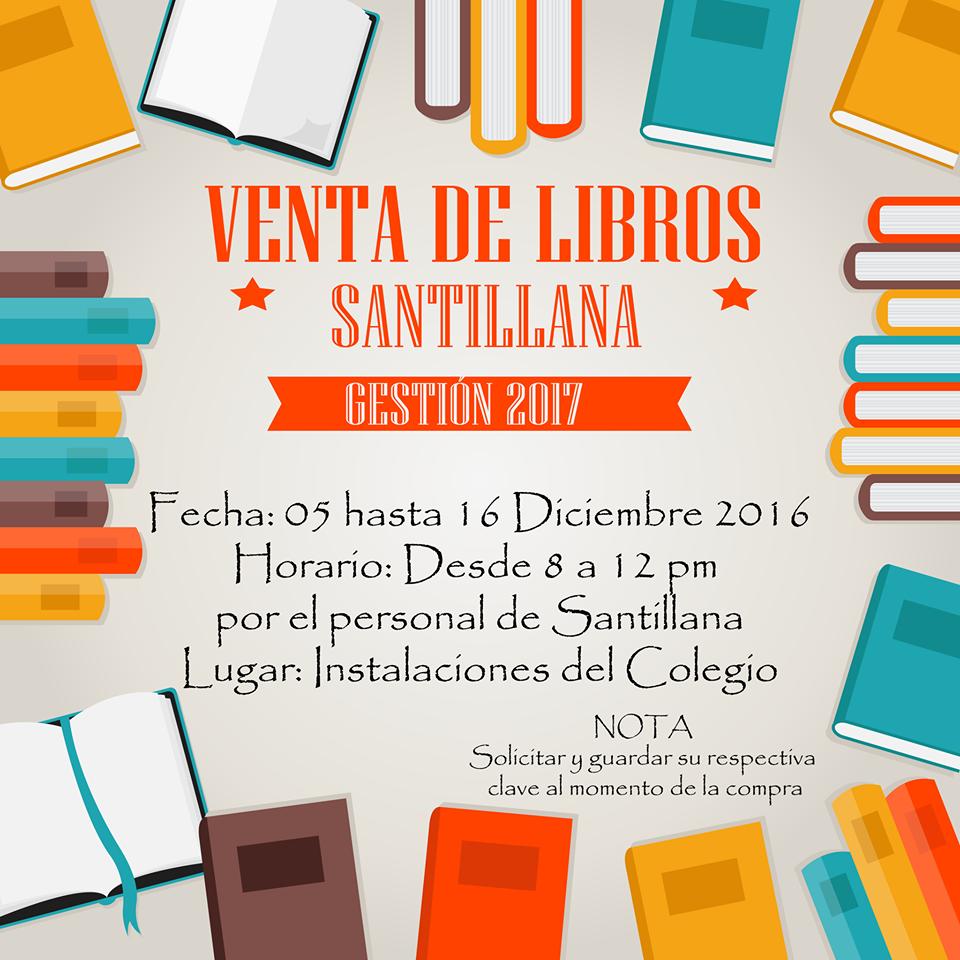 VENTA DE LIBROS SANTILLANA, GESTIÓN 2017   CMSTA